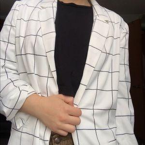 black and white grid blazer